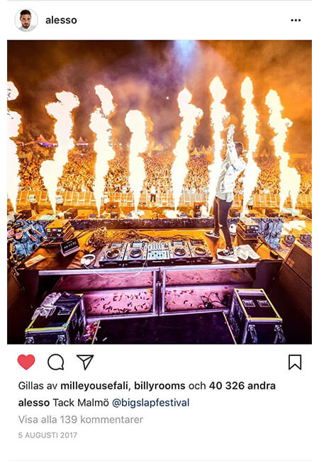 Alesso Instagram post about Big Slap