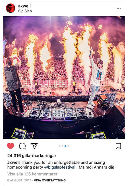 Axwell Instagram post about Big Slap